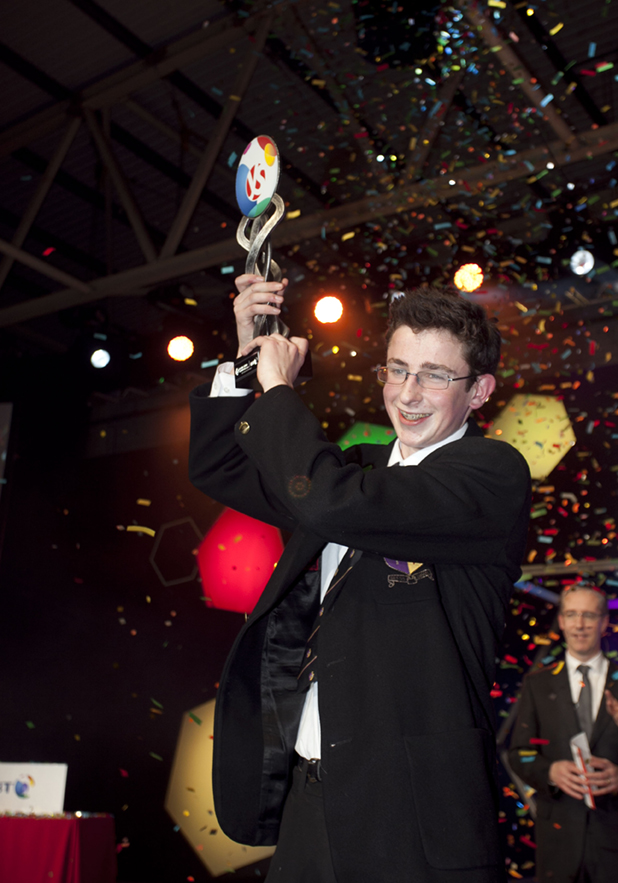Pictured is BT Young Scientist of the Year 2014 winner, Paul Clarke from St Paul's College, Killlester, Dublin for his project 'Contributions to cyclic graph theory'. Paul wins the Perpetual Trophy, 5000 euro and the chance to represent Ireland at the 25th European Union Competition for Young Scientists in Warsaw, Poland  in September.  To celebrate the 50th year of event BT will host the winners on a trip to Silicon Valley later in the year. Picture by Fennell Photography.