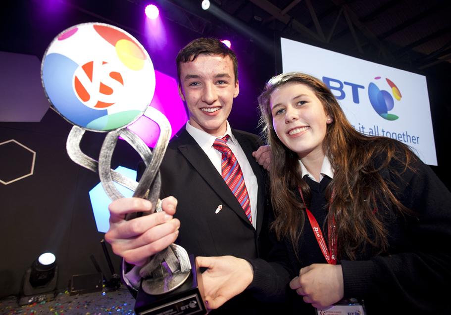 BT Young Scientist of the Year 2015 Award winners Ian O' Sullivan, Eimear Murphy