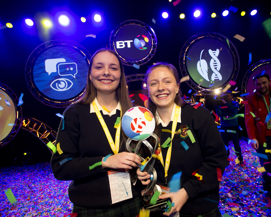 BT Young Scientist and Technology Exhibition 2016 overall prize winners Maria Louise Fufezan and Diana Bura from Loreto Secondary School Balbriggan for their project entitled 'An Investigation into the Effects of Enzymes used in Animal Feed Additives on the Lifespan of Caenorhabditis Elegans'.