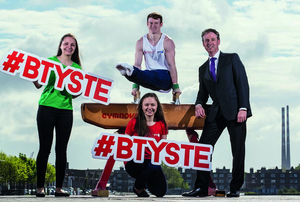 Pictured here at the launch of the BT Young Scientist & Technology Exhibition 2017 is Kieran Behan, Irish Gymnast, Shay Walsh, Managing Director, BT Ireland, and last year's overall winners, of the 52nd BT Young Scientist and Technology Exhibition, Maria Louise Fufezanand Diana Bura, Loreto Secondary School, Balbriggan.