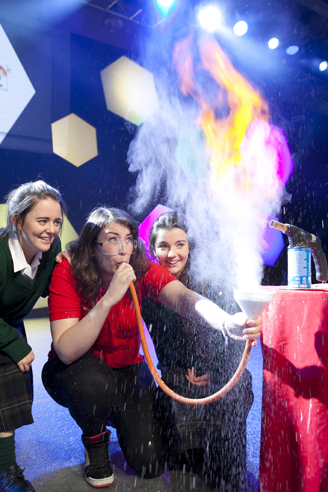 IT TAKES GUTS...SO GET READY FOR THE 2013 BT YOUNG SCIENTIST & TECHNOLOGY EXHIBITION The 49th BT Young Scientist & Technology Exhibition starts Wednesday, 9th January but we're getting a...gross....look at some of what you can expect at the RDS this week when one of the special acts gives us a disgusting preview. It Takes Guts allows you to follow the journey of food into your mouth, through the acid bath in your stomach and along metre after metre of pulsating guts. Pictured is Laura Meade from 'It takes Guts' with Claire Walsh, aged 15 and Naoise O'Driscoll, aged 16 both from Loreto High School, Beaufort, Rathfarnham, Co.Dublin.Picture by Shane O'Neill / Fennells.