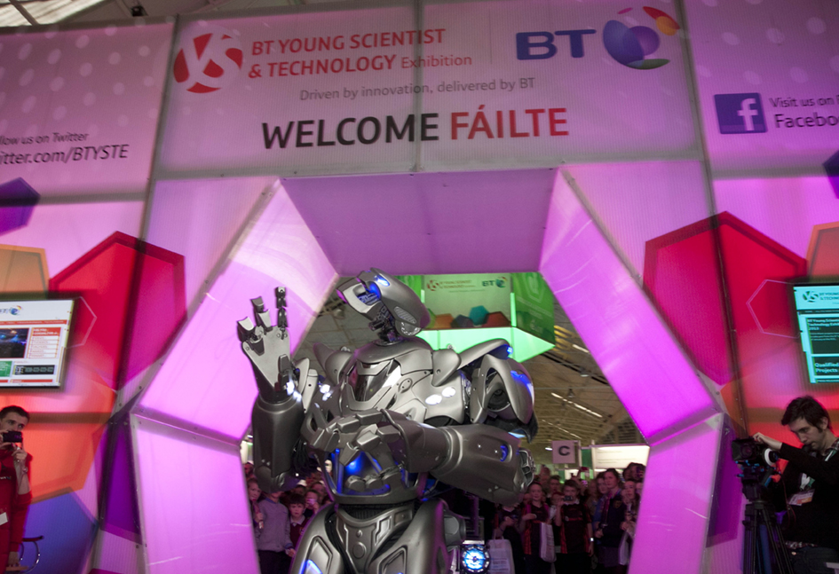 BT Young Scientist and Technology Exhibition 2013  8ft high Titan causes a a stir at during his arrival at the 49th BT Young Scientist and Technology Exhibiton.  Copyright Fennell Photography 2013